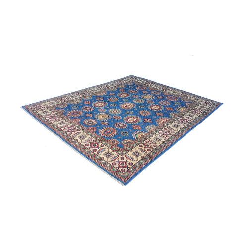 Blauw Handgeknoopt kazak tapijt  305x250 cm oosters kleed vloerkleed