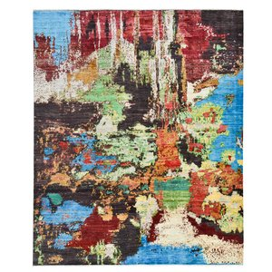 Hand knotted 9'8x8' Modern  Art Deco Wool Rug 300x252cm  Abstract Carpet