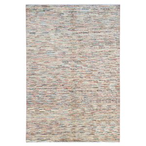 Hand knotted 7'6x5' Modern  stripe  Wool Rug 234x158 cm  Abstract Carpet