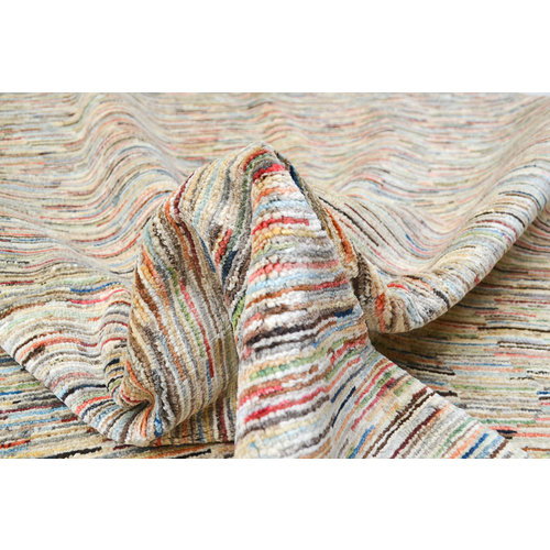 Handgeknüpft Modern  stripe 234x158 cm   Abstrakt Wolle Teppich