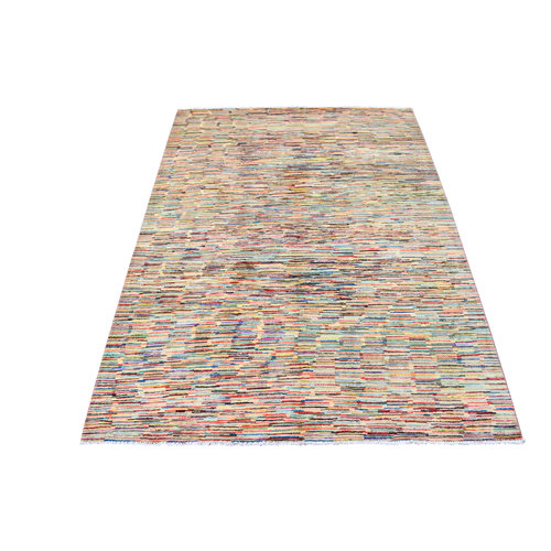 Hand knotted 8'x5' Modern  stripe Wool Rug 249x166 cm  Abstract Carpet