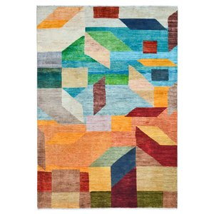 Handgeknüpft Modern Art Deco  236x163 cm   Abstrakt Wolle Teppich multi