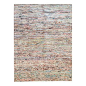 Hand knotted 7'7x5' 9 Modern  stripe Wool Rug 235x180cm  Abstract Carpet