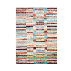 Handgeknüpft Modern Art Deco  231x170 cm   Abstrakt Wolle Teppich multi