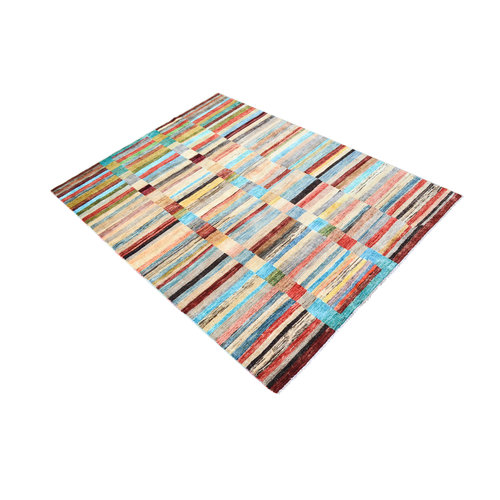 Hand knotted 7'5x5'5  Modern Wool Area Rug 231x170 cm  Abstract Carpet