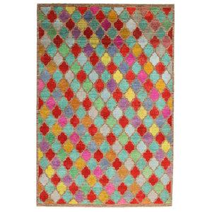 Hand knotted 9'5x6'4 Modern  Art Deco Wool Rug Gabbeh Carpet 291x196 cm