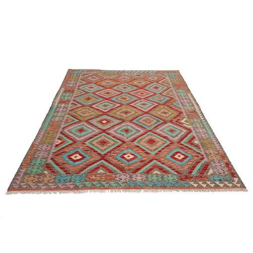 9'84x6'72 exclusive Sheep Wool Hand woven Multi color Afghan kilim Carpet Rug