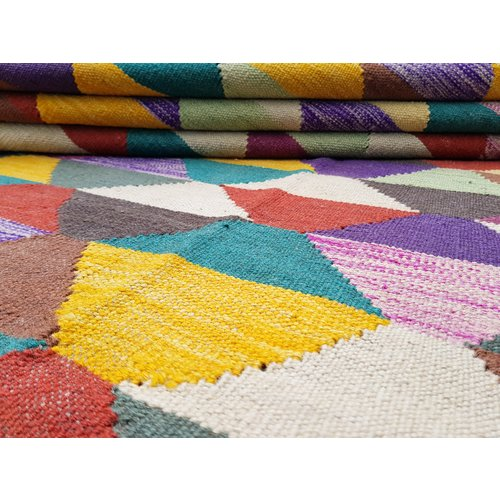 9'71x6'62 exclusive Sheep Wool Hand woven Multi color Afghan kilim Carpet Rug