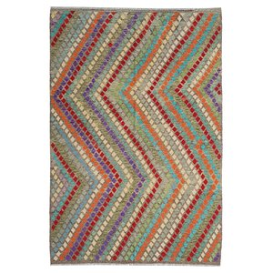9'64x6'85 exclusive Sheep Wool Hand woven Multi color Afghan kilim Carpet Rug