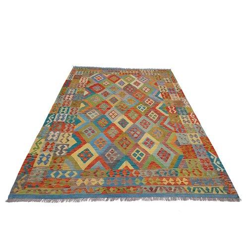 9'87x6'79 exclusive Sheep Wool Hand woven Multi color Afghan kilim Carpet Rug