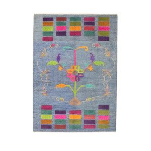 Hand knotted 7'5x5'4 Modern  Art  Wool Rug 231x165 cm  Abstract Carpet