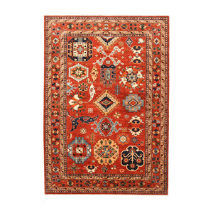 Hand knotted 9'5x6'6 super fine oriental kazak rug 292x203 cm  Abstract Carpet