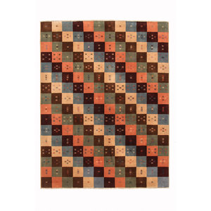 Hand knotted 7'7x5'9 Modern  Wool Rug 235x182 cm  Abstract Carpet