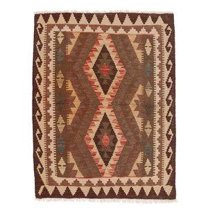 3'7x2'95 Handwoven Afghan Kilim Rug 115x90cm Multi color 100% Wool Tribal