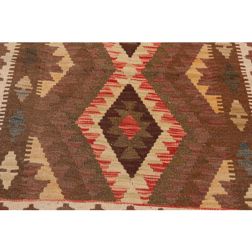 3'7x2'95 Handwoven Afghan Kilim Rug 115x90cm Multi color 100% Wool Tribal