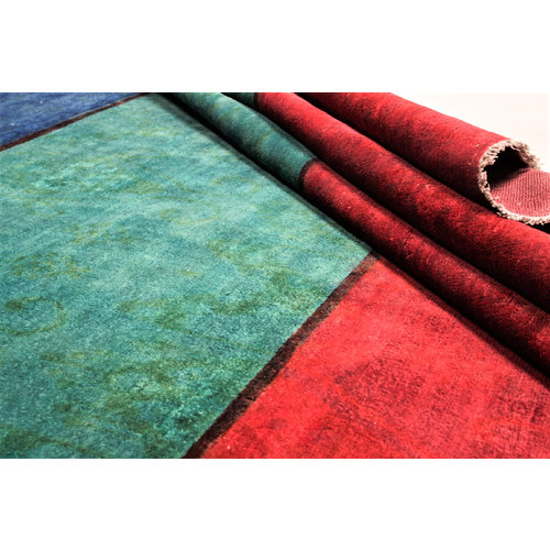 Hand knotted 7'6x6'3 Modern  Wool Rug 232x195 cm  Abstract Carpet