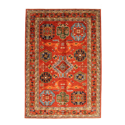 Hand knotted 9'5x6'6 super fine oriental kazak rug 291x204 cm  Abstract Carpet