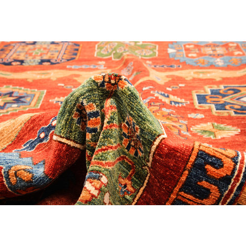 Hand knotted 9'4x6'8 super fine oriental kazak rug 288x208 cm  Abstract Carpet