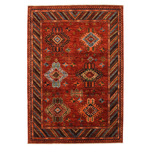 Hand knotted 9'6x6'6 ft super fine oriental kazak rug 294x204 cm  Abstract Carpet