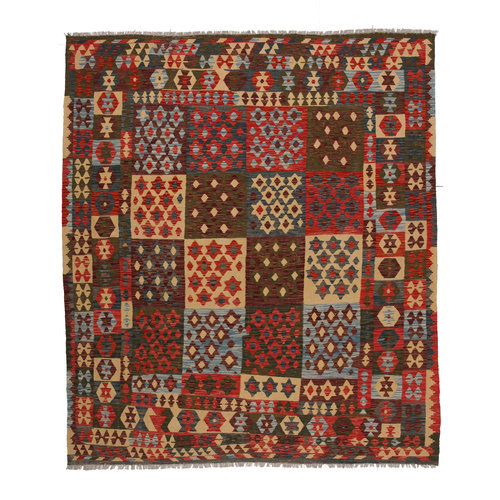 9'6x8'2ft Handwoven Area rug Kilim 293x251cm Tribal 100% multicolored wool