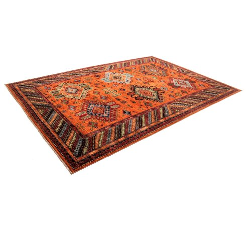 Hand knotted super fine Red kazak best Wool 293x202cm Area Rug Carpet 9'6x6'6ft