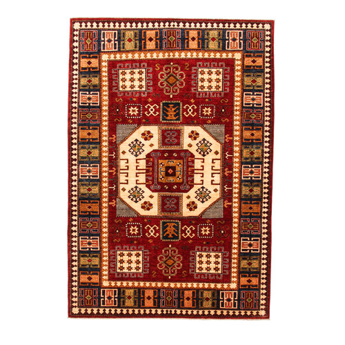 Hand knotted super fine Red kazak best Wool 294x201cm Area Rug Carpet 9'6x6'5ft