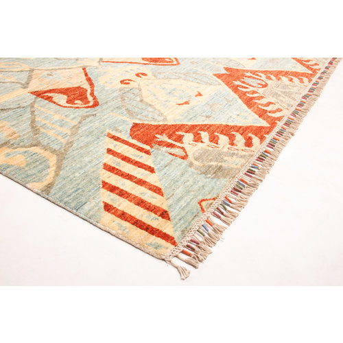 Hand knotted 8'2x6'5 ft Modern Art Ghazny Wool Rug 250x202 cm  Abstract Carpet