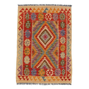 4'03x2'78 exclusive Sheep Wool Handwoven Multicolor Afghan kilim Area Rug Carpet