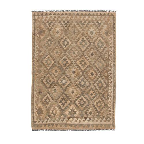 Vloerkleed Tapijt Kelim 205x146  cm Kleed Hand Geweven Kilim Grijs Natural kelim