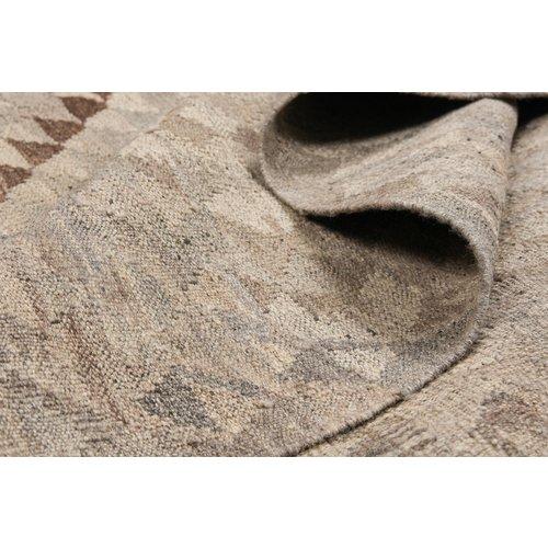 Vloerkleed Tapijt Kelim 316x200 cm Kleed Hand Geweven Kilim Grijs Natural kelim
