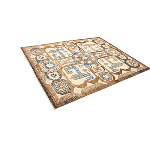 Hand knotted 8'x6'3 ft Modern Art Ghazny Wool Rug 246x195 cm  Abstract Carpet