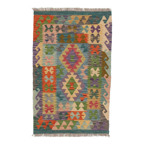 4'16x2'65 Sheep Wool Handwoven Multicolor Geometric Afghan kilim Area Rug Carpet