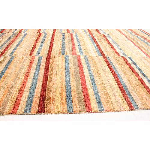 Hand knotted 8'2x6'2 ft Modern stribe Sheep Wool Rug 252x192 cm Area rug Carpet