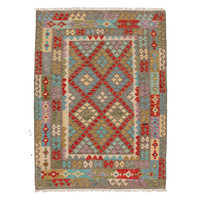 6'66x5'01 Sheep Wool Hand knotted Multicolor Oriental Afghan kilim Area Rug
