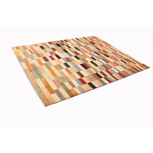Hand knotted 7'9x6'4ft Modern Multicolor best Wool Rug 241x198cm Area rug Carpet