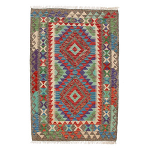 4'88x3'28 Sheep Wool Handwoven Multicolor Geometric Afghan kilim Area Rug Carpet