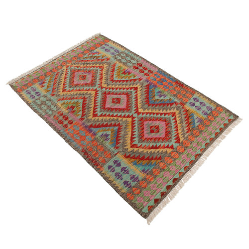 exclusive  Vloerkleed Tapijt Kelim 147x100 cm Kleed Hand Geweven Kilim
