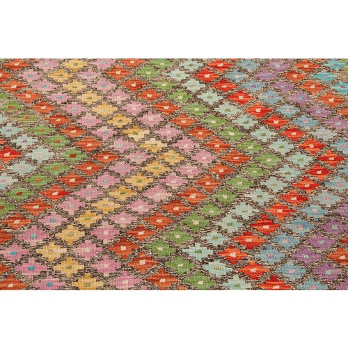 4'92x3'31 Sheep Wool Hand knotted Multicolor Traditional Afghan kilim Area Rug