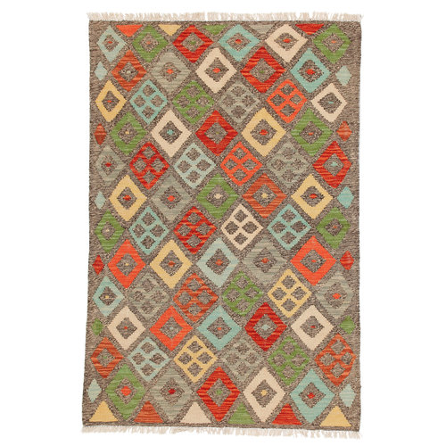 5'08x3'34 Sheep Wool Hand knotted Multicolor Oriental Afghan kilim Area Rug