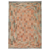 11'61x8'00 Sheep Wool Handwoven Multicolor Geometric Afghan kilim Area Rug