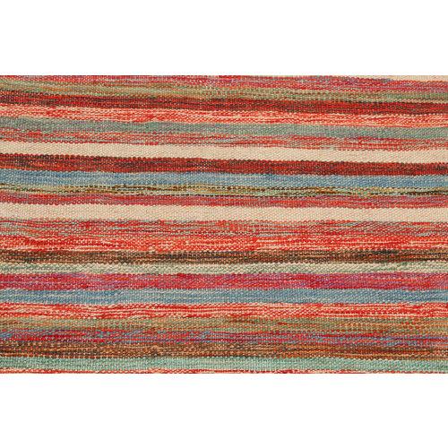 3'83x2'55 Sheep Wool Handwoven Multicolor Geometric Afghan kilim Area Rug Carpet