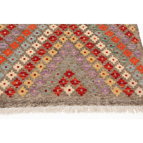 3'28x2'75 Sheep Wool Handwoven Multicolor Traditional Afghan kilim Area Rug