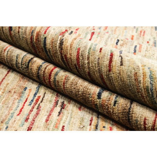 Hand knotted 8'4x6'6 ft Modern stribe Sheep Wool Rug 258x202 cm Area rug Carpet