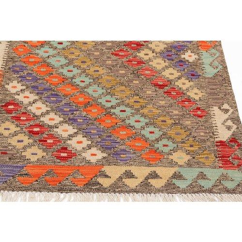 4'10x2'75 Sheep Wool Handwoven Multicolor Traditional Afghan kilim Area Rug