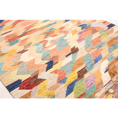 Hand knotted 7'9x6'3ft Modern Multicolor best Wool Rug 242x193cm Area rug Carpet