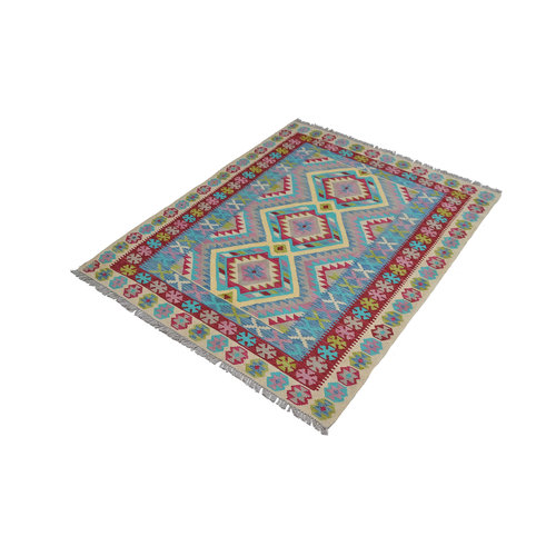 Kelim Kleed 194x157 cm Vloerkleed Tapijt Kelim Hand Geweven