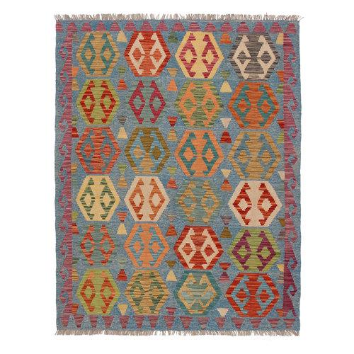 6'33x4'82 Sheep Wool Handwoven Multicolor Geometric Afghan kilim Area Rug Carpet