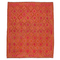 exclusive  Vloerkleed Tapijt Kelim 247x210 cm Kleed Hand Geweven Kilim