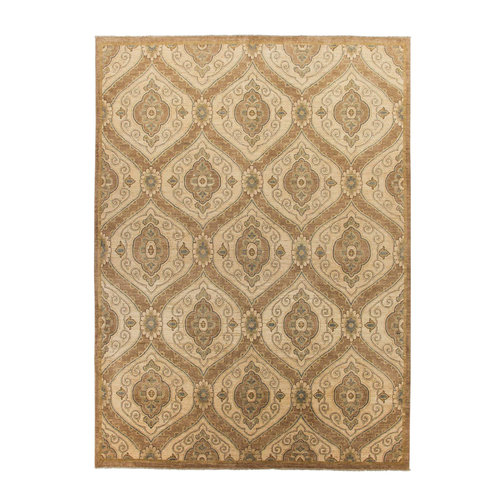 Hand knotted 12'2x8'7 Modern ikat Wool Rug 372x268 cm  Area Rug Abstract Carpet
