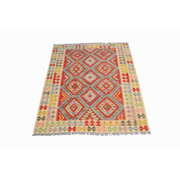 Sheep Quality Wool Hand woven  Afghan kilim Carpet Kilim Rug 6'4x4'9 ft